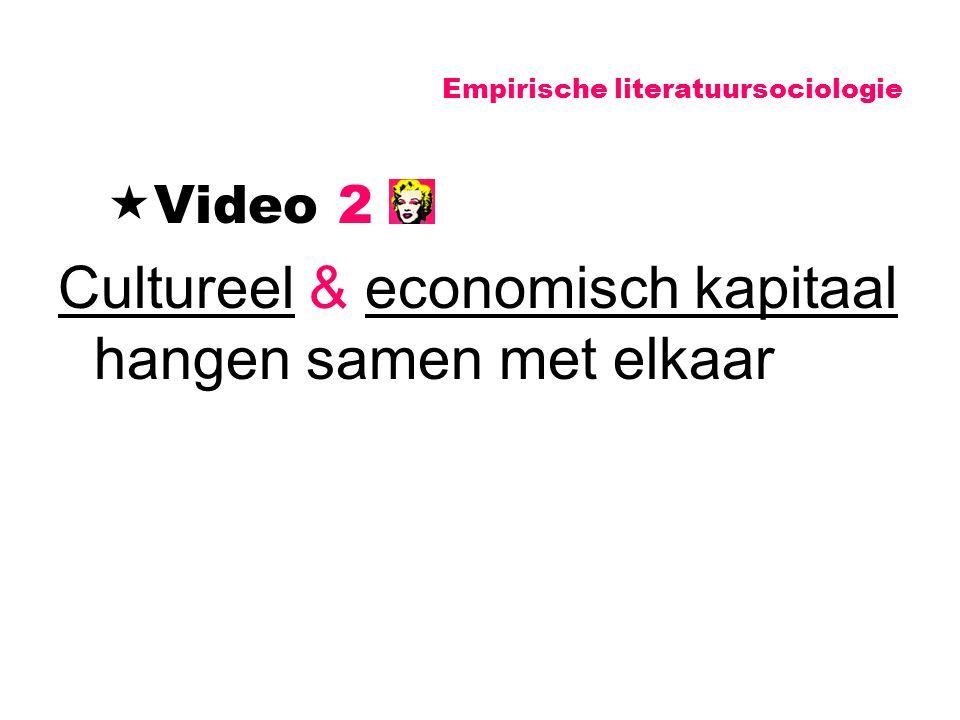 Empirische literatuursociologie  Video 2 Cultureel & economisch kapitaal hangen samen met elkaar