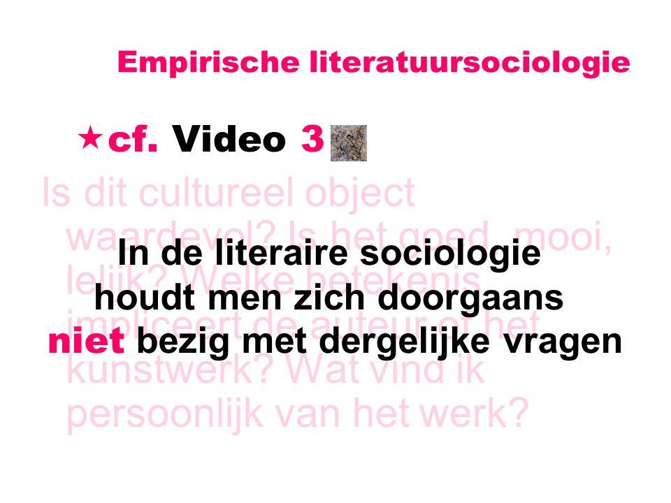 Empirische literatuursociologie  cf. Video 3 Is dit cultureel object waardevol? Is het goed, mooi, lelijk? Welke betekenis impliceert de auteur of he