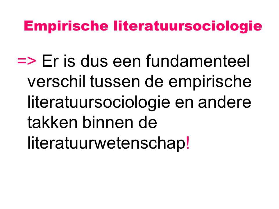 Empirische literatuursociologie => Er is dus een fundamenteel verschil tussen de empirische literatuursociologie en andere takken binnen de literatuur