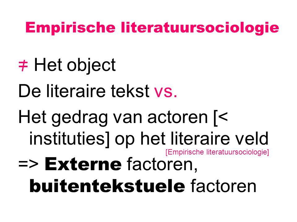 Empirische literatuursociologie = Het object De literaire tekst vs. Het gedrag van actoren [< instituties] op het literaire veld => Externe factoren,