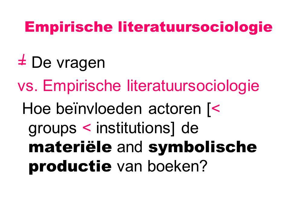 Empirische literatuursociologie = De vragen vs. Empirische literatuursociologie Hoe beïnvloeden actoren [< groups < institutions] de materiële and sym