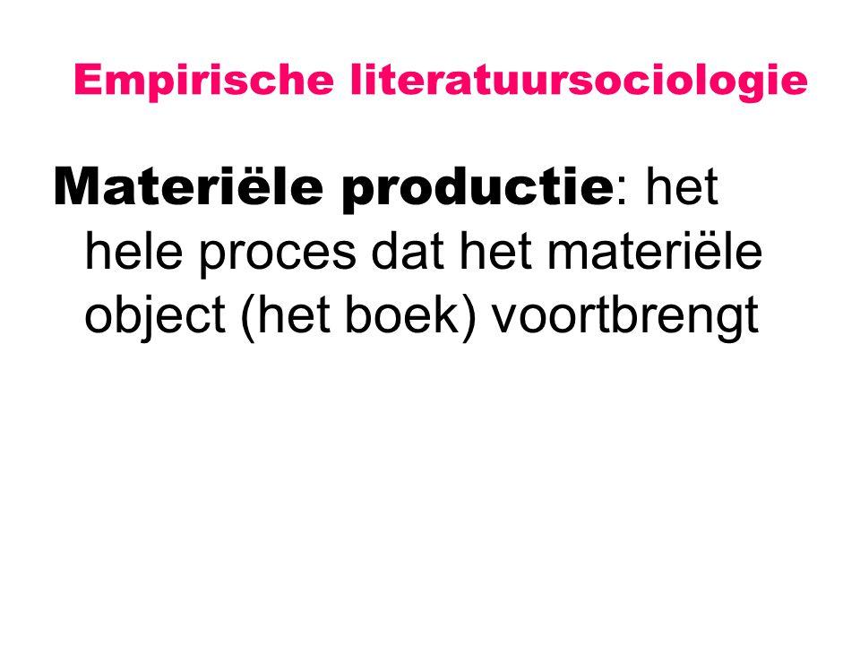 Empirische literatuursociologie Materiële productie : het hele proces dat het materiële object (het boek) voortbrengt