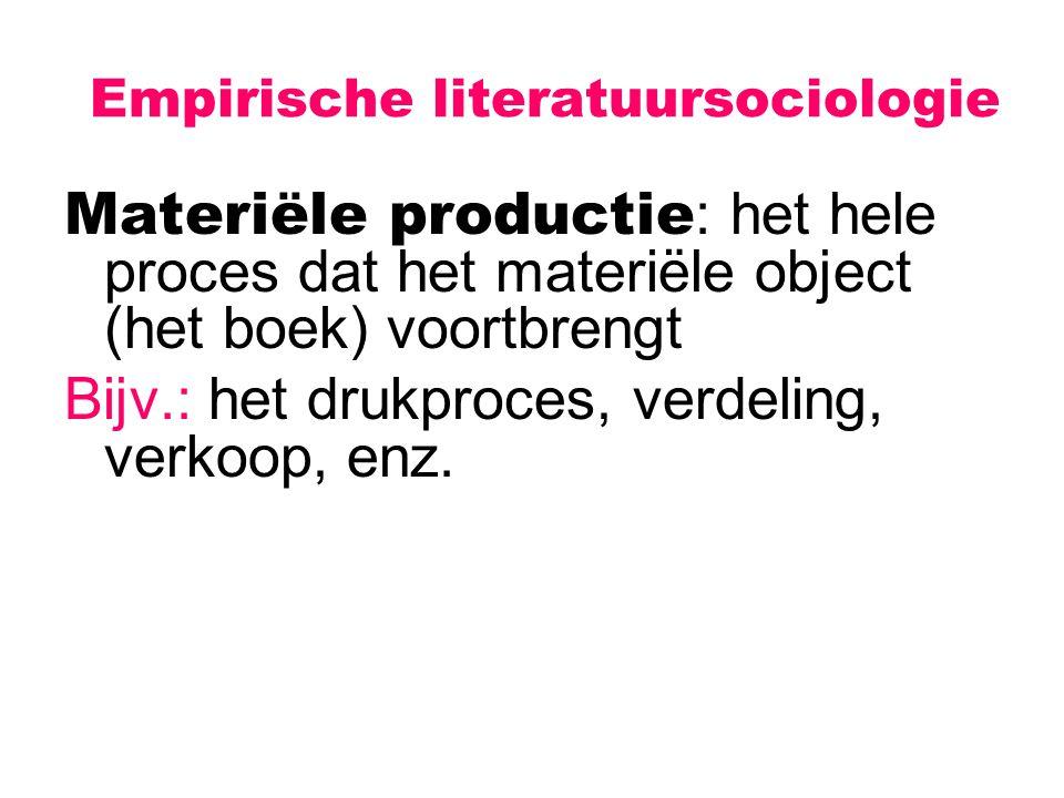 Empirische literatuursociologie Materiële productie : het hele proces dat het materiële object (het boek) voortbrengt Bijv.: het drukproces, verdeling