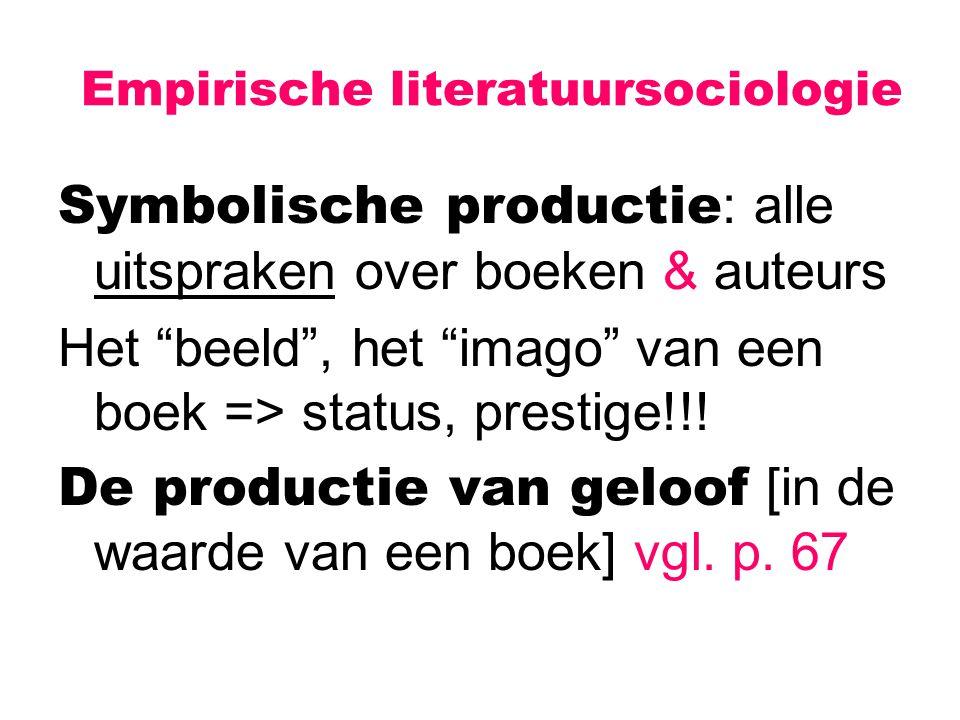 """Empirische literatuursociologie Symbolische productie : alle uitspraken over boeken & auteurs Het """"beeld"""", het """"imago"""" van een boek => status, prestig"""