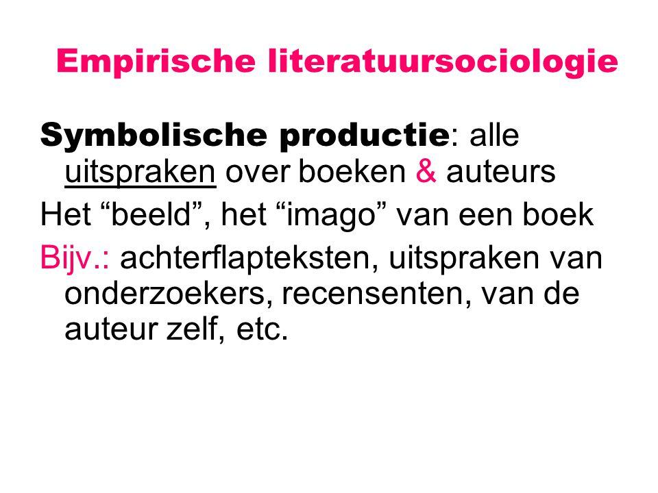 """Empirische literatuursociologie Symbolische productie : alle uitspraken over boeken & auteurs Het """"beeld"""", het """"imago"""" van een boek Bijv.: achterflapt"""