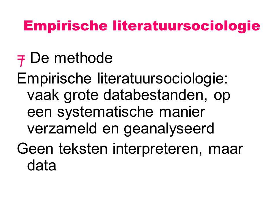 Empirische literatuursociologie = De methode Empirische literatuursociologie: vaak grote databestanden, op een systematische manier verzameld en geana