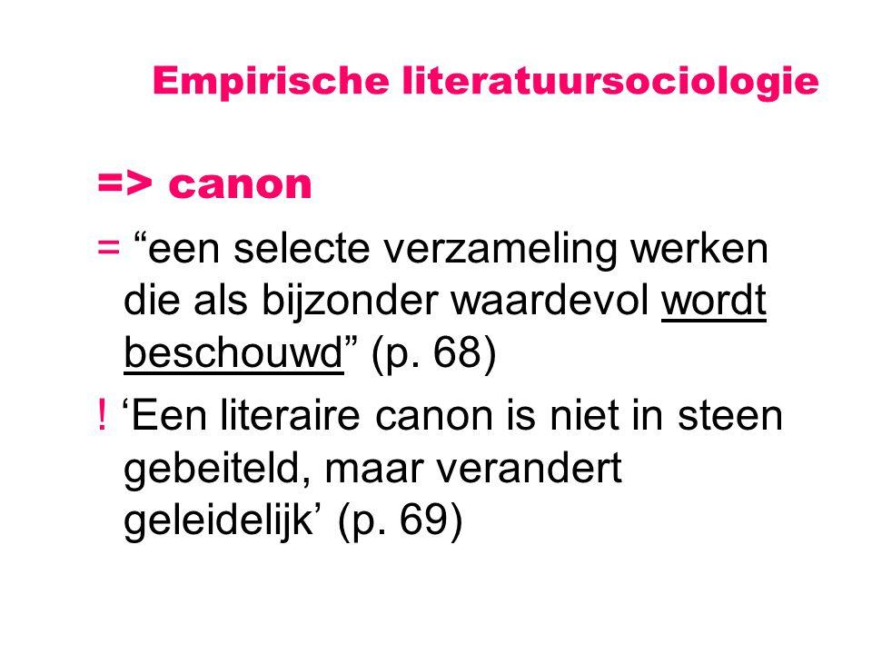 """Empirische literatuursociologie => canon = """"een selecte verzameling werken die als bijzonder waardevol wordt beschouwd"""" (p. 68) ! 'Een literaire canon"""