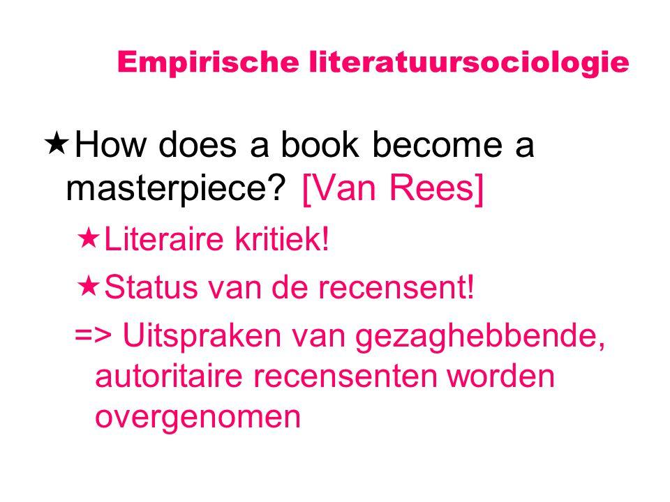 Empirische literatuursociologie  How does a book become a masterpiece? [Van Rees]  Literaire kritiek!  Status van de recensent! => Uitspraken van g