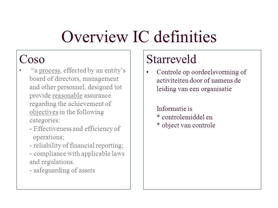 "Overview IC definities Coso ""a process, effected by an entity's board of directors, management and other personnel, designed tot provide reasonable as"