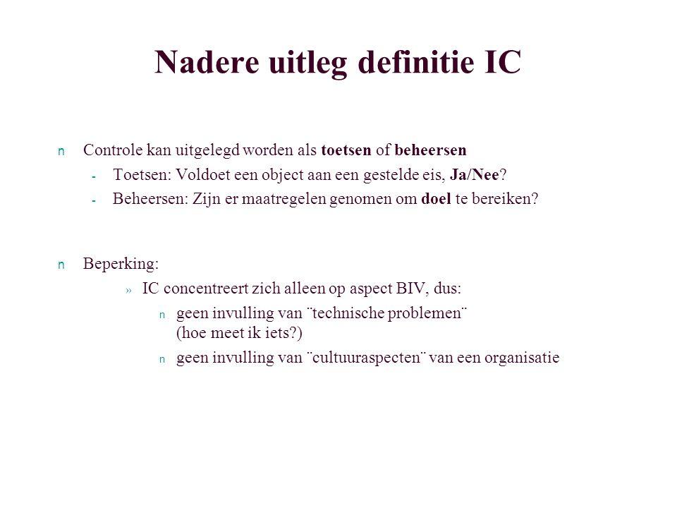 Enkele opmerkingen bij de definitie van Starreveld n Geen specifieke uitleg of beperking van het object van de interne controle - de anderen: alleen anderen binnen de organisatie.