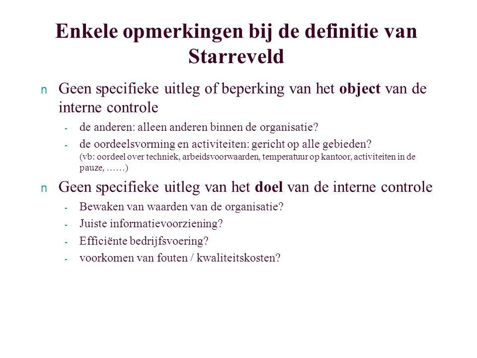 Recapitulatie AIS Controlebegrippen en de definitie van IC De waardenkringloop en de ¨wetten¨ 3 Controlebegrippen en de ¨controletoolbox¨ ñ Inrichten cq.