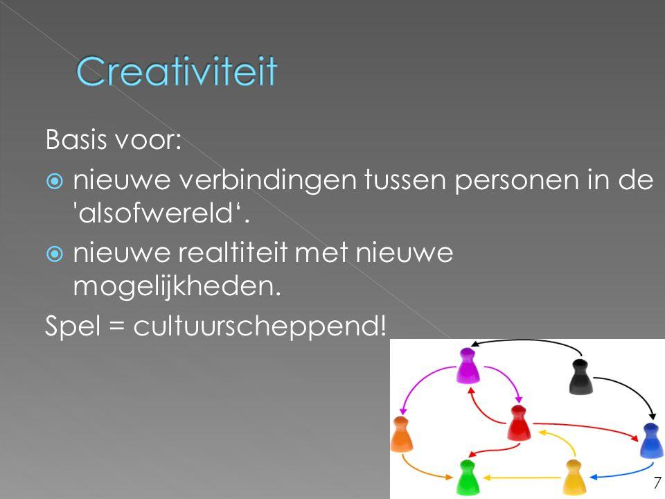 Basis voor:  nieuwe verbindingen tussen personen in de 'alsofwereld'.  nieuwe realtiteit met nieuwe mogelijkheden. Spel = cultuurscheppend! 7