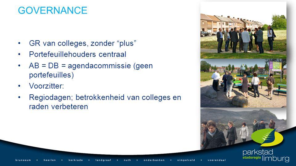 GOVERNANCE GR van colleges, zonder plus Portefeuillehouders centraal AB = DB = agendacommissie (geen portefeuilles) Voorzitter: Regiodagen; betrokkenheid van colleges en raden verbeteren