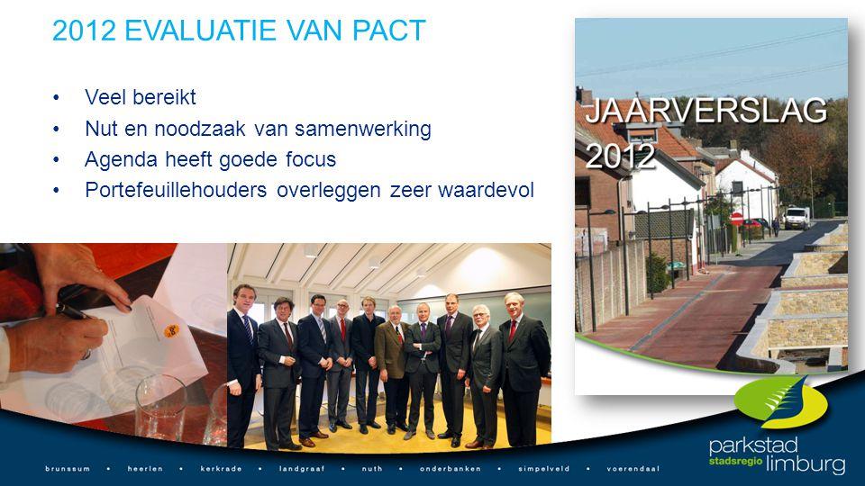 2012 EVALUATIE VAN PACT Veel bereikt Nut en noodzaak van samenwerking Agenda heeft goede focus Portefeuillehouders overleggen zeer waardevol