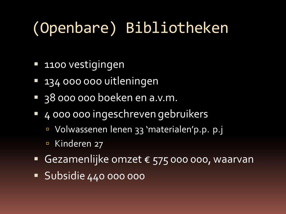 (Openbare) Bibliotheken  1100 vestigingen  134 ooo ooo uitleningen  38 000 000 boeken en a.v.m.
