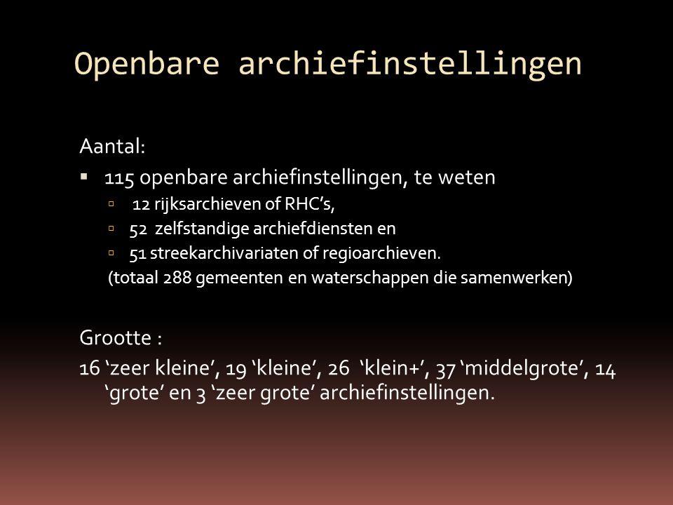 Openbare archiefinstellingen Aantal:  115 openbare archiefinstellingen, te weten  12 rijksarchieven of RHC's,  52 zelfstandige archiefdiensten en  51 streekarchivariaten of regioarchieven.