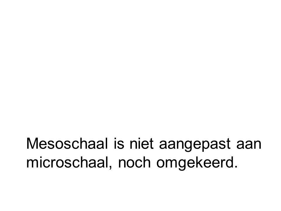 Mesoschaal is niet aangepast aan microschaal, noch omgekeerd.