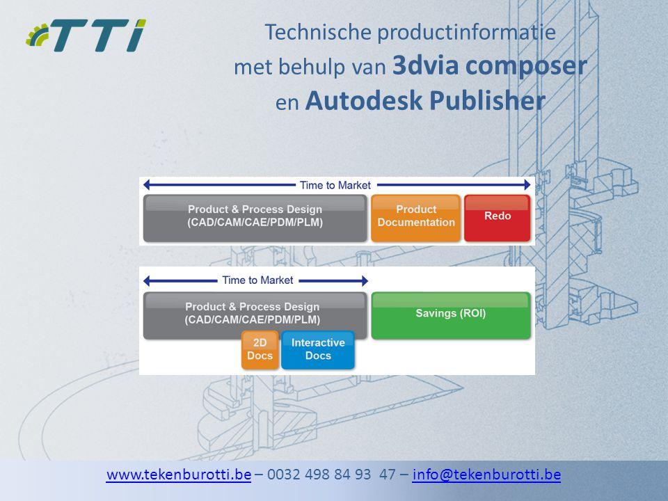 Technische productinformatie met behulp van 3dvia composer en Autodesk Publisher www.tekenburotti.bewww.tekenburotti.be – 0032 498 84 93 47 – info@tek