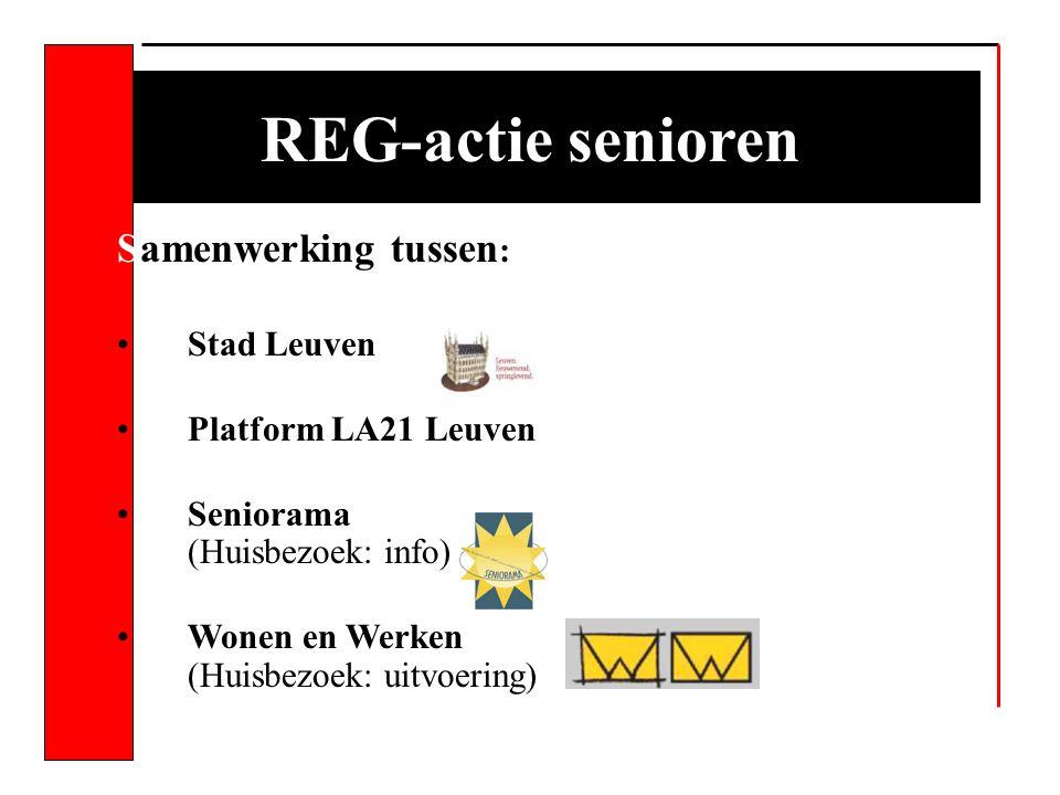 REG-actie senioren Samenwerking tussen : Stad Leuven Platform LA21 Leuven Seniorama (Huisbezoek: info) Wonen en Werken (Huisbezoek: uitvoering)