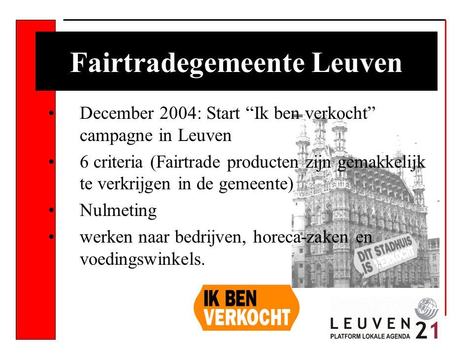 December 2004: Start Ik ben verkocht campagne in Leuven 6 criteria (Fairtrade producten zijn gemakkelijk te verkrijgen in de gemeente) Nulmeting werken naar bedrijven, horeca-zaken en voedingswinkels.
