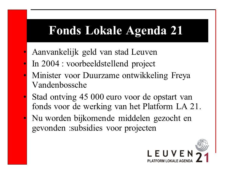 Fonds Lokale Agenda 21 Aanvankelijk geld van stad Leuven In 2004 : voorbeeldstellend project Minister voor Duurzame ontwikkeling Freya Vandenbossche Stad ontving 45 000 euro voor de opstart van fonds voor de werking van het Platform LA 21.