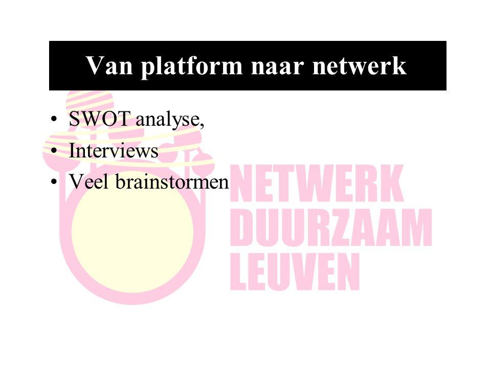 Van platform naar netwerk SWOT analyse, Interviews Veel brainstormen