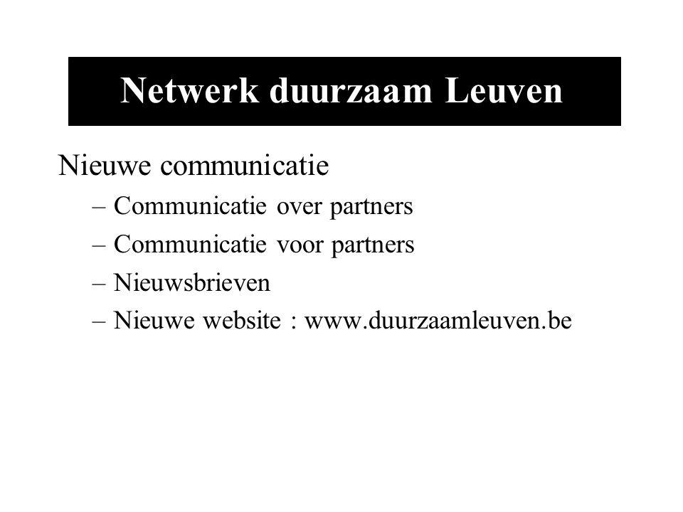 Netwerk duurzaam Leuven Nieuwe communicatie –Communicatie over partners –Communicatie voor partners –Nieuwsbrieven –Nieuwe website : www.duurzaamleuven.be