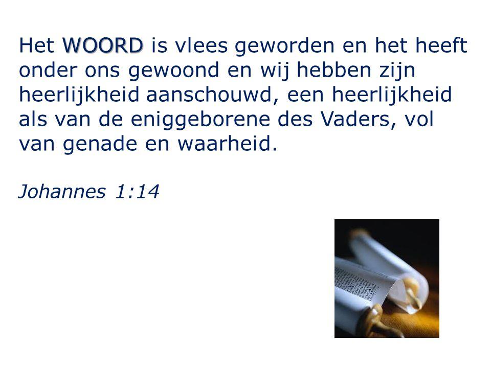 WOORD Het WOORD is vlees geworden en het heeft onder ons gewoond en wij hebben zijn heerlijkheid aanschouwd, een heerlijkheid als van de eniggeborene des Vaders, vol van genade en waarheid.