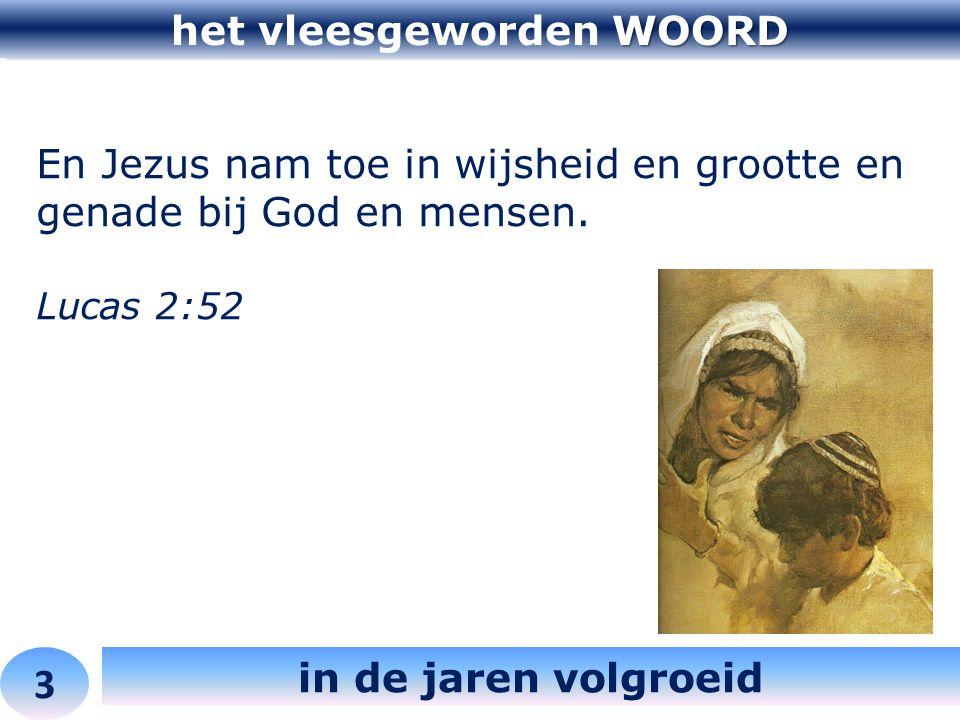 WOORD het vleesgeworden WOORD 3 in de jaren volgroeid En Jezus nam toe in wijsheid en grootte en genade bij God en mensen. Lucas 2:52