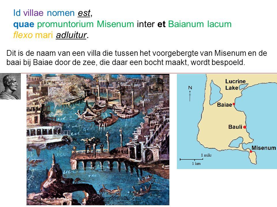 Dit is de naam van een villa die tussen het voorgebergte van Misenum en de baai bij Baiae door de zee, die daar een bocht maakt, wordt bespoeld. Id vi
