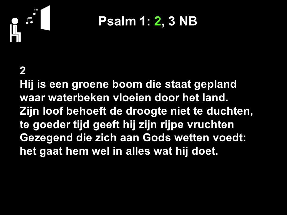 Psalm 1: 2, 3 NB 2 Hij is een groene boom die staat gepland waar waterbeken vloeien door het land.