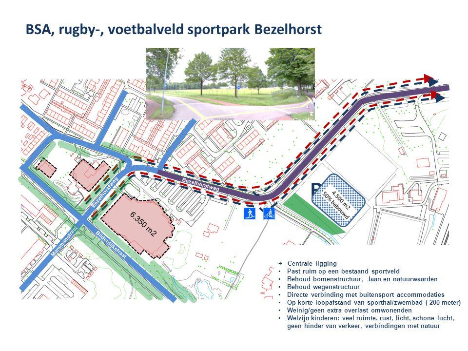 BSA, rugby-, voetbalveld sportpark Bezelhorst Marsmanstraat Bilderdijkstraat Bezelhorstweg Oude Rozengaardseweg P + Centrale ligging Past ruim op een