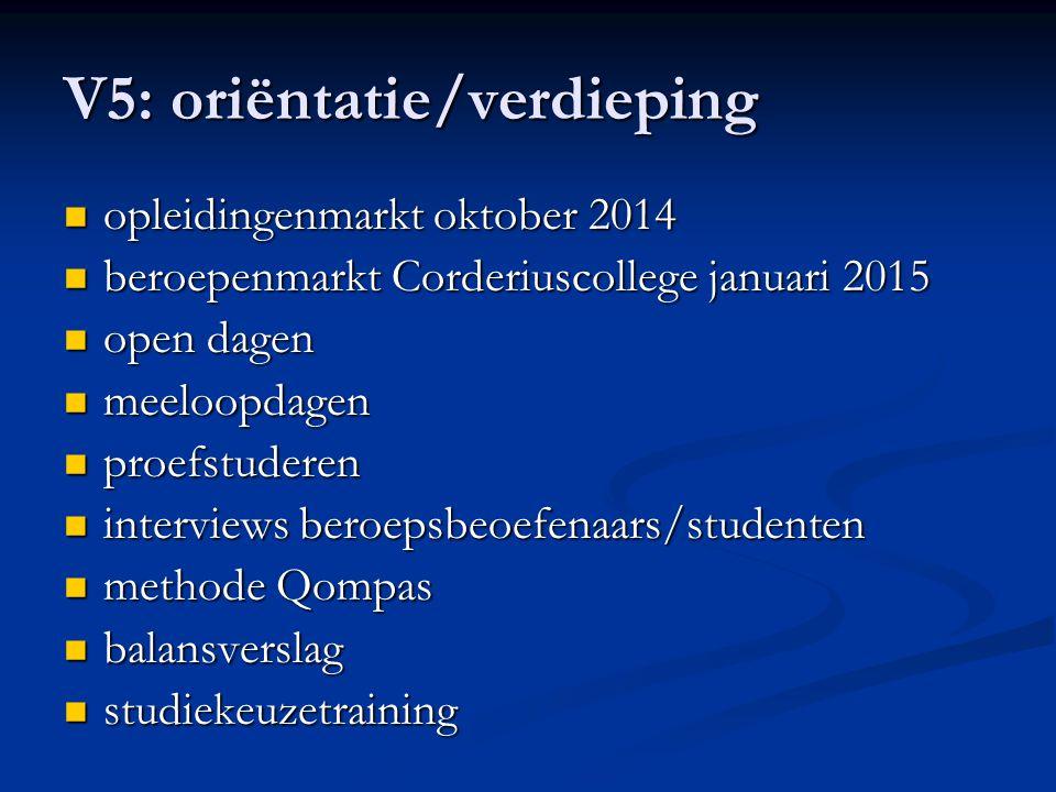 V5: oriëntatie/verdieping opleidingenmarkt oktober 2014 opleidingenmarkt oktober 2014 beroepenmarkt Corderiuscollege januari 2015 beroepenmarkt Corder