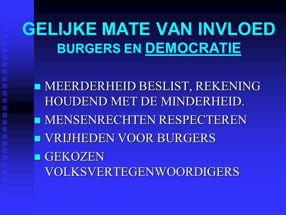 GELIJKE MATE VAN INVLOED BURGERS EN DEMOCRATIE MEERDERHEID BESLIST, REKENING HOUDEND MET DE MINDERHEID. MEERDERHEID BESLIST, REKENING HOUDEND MET DE M