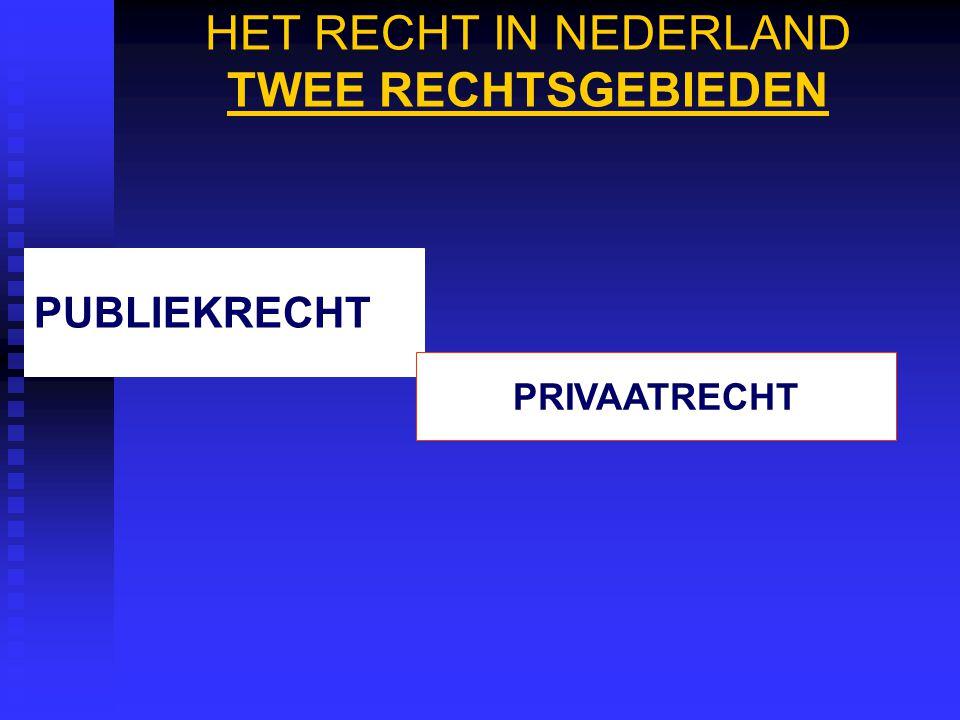 HET RECHT IN NEDERLAND TWEE RECHTSGEBIEDEN PUBLIEKRECHT PRIVAATRECHT