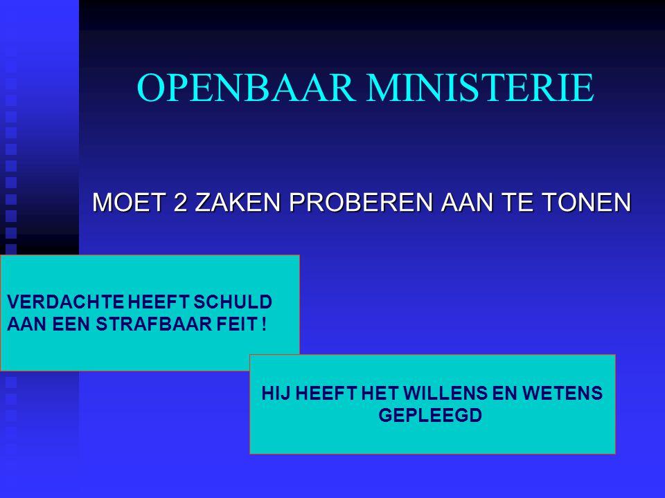 OPENBAAR MINISTERIE MOET 2 ZAKEN PROBEREN AAN TE TONEN VERDACHTE HEEFT SCHULD AAN EEN STRAFBAAR FEIT ! HIJ HEEFT HET WILLENS EN WETENS GEPLEEGD