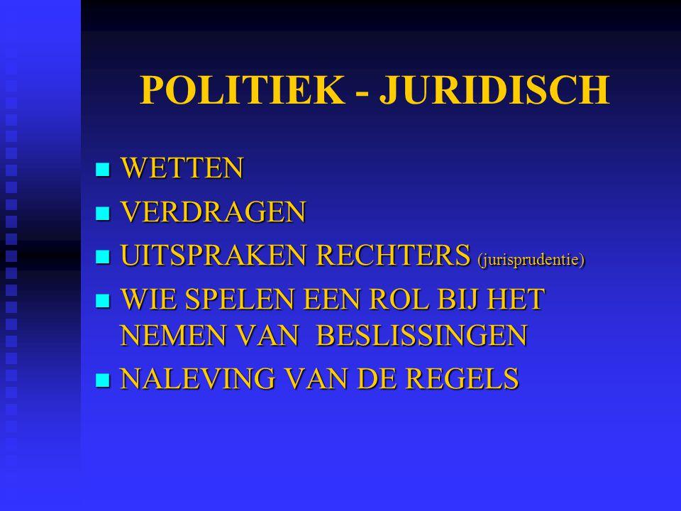 POLITIEK - JURIDISCH WETTEN WETTEN VERDRAGEN VERDRAGEN UITSPRAKEN RECHTERS (jurisprudentie) UITSPRAKEN RECHTERS (jurisprudentie) WIE SPELEN EEN ROL BI