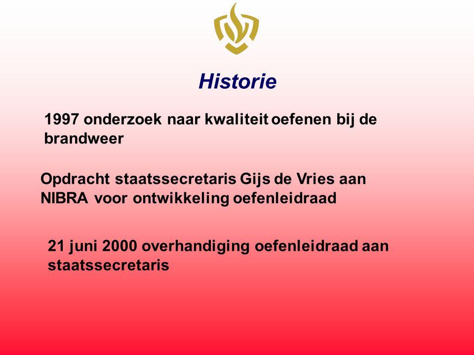 Historie 1997 onderzoek naar kwaliteit oefenen bij de brandweer Opdracht staatssecretaris Gijs de Vries aan NIBRA voor ontwikkeling oefenleidraad 21 juni 2000 overhandiging oefenleidraad aan staatssecretaris