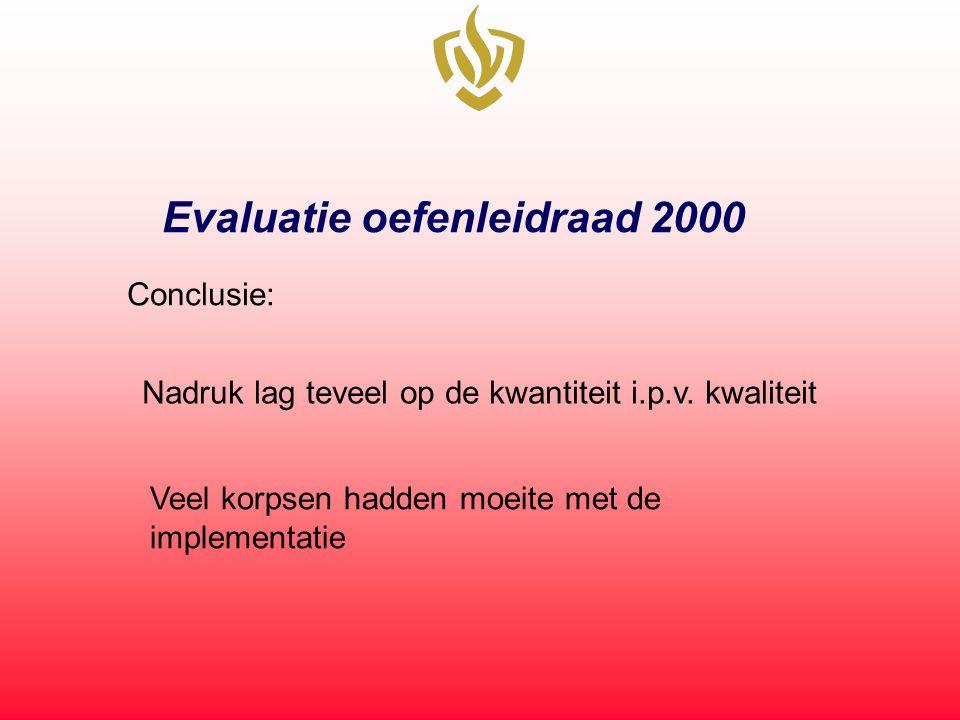 Evaluatie oefenleidraad 2000 Conclusie: Nadruk lag teveel op de kwantiteit i.p.v. kwaliteit Veel korpsen hadden moeite met de implementatie