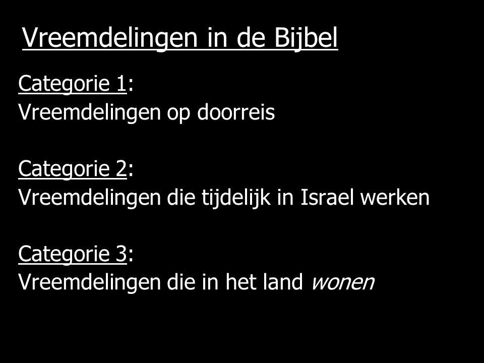 Vreemdelingen in de Bijbel Categorie 1: Vreemdelingen op doorreis Categorie 2: Vreemdelingen die tijdelijk in Israel werken Categorie 3: Vreemdelingen