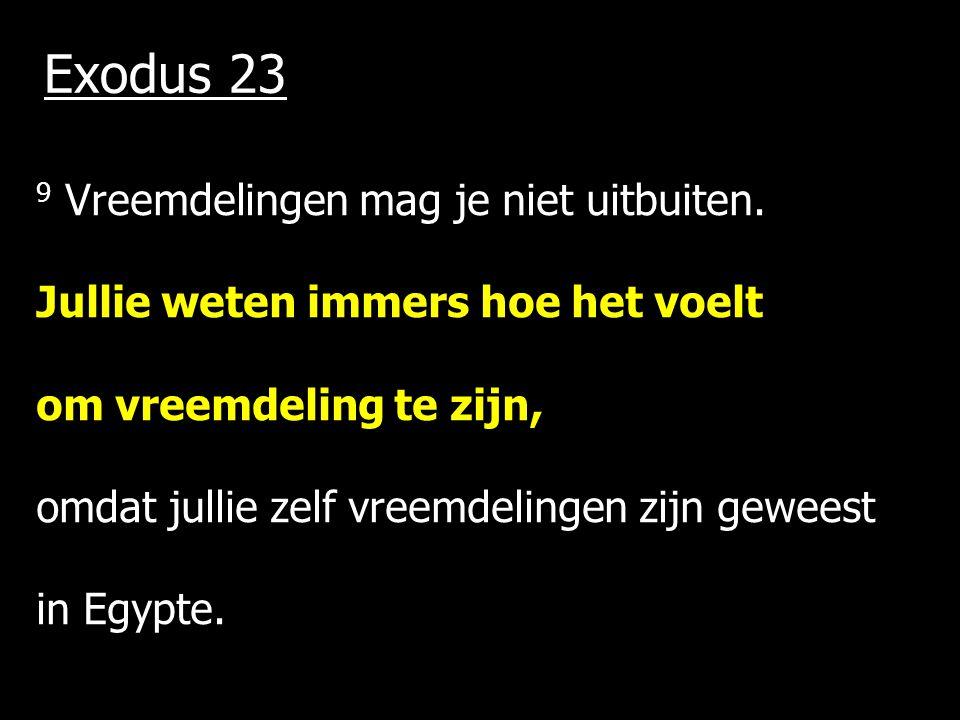 Exodus 23 9 Vreemdelingen mag je niet uitbuiten. Jullie weten immers hoe het voelt om vreemdeling te zijn, omdat jullie zelf vreemdelingen zijn gewees
