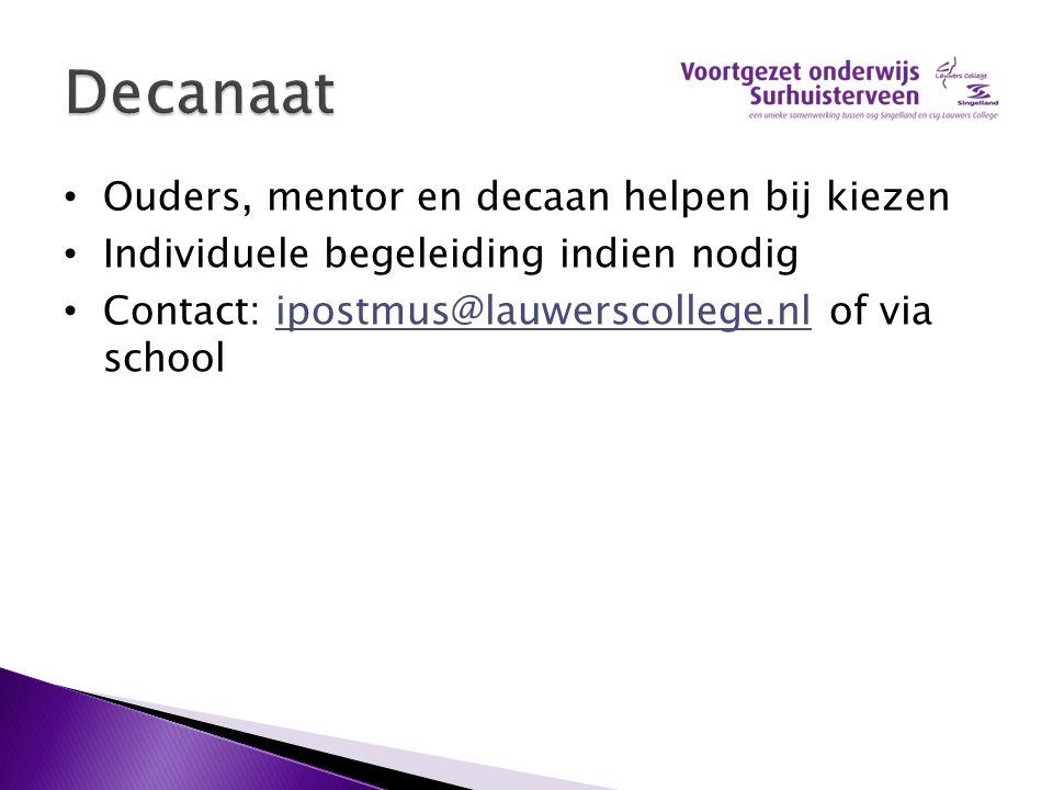 Ouders, mentor en decaan helpen bij kiezen Individuele begeleiding indien nodig Contact: ipostmus@lauwerscollege.nl of via schoolipostmus@lauwerscollege.nl