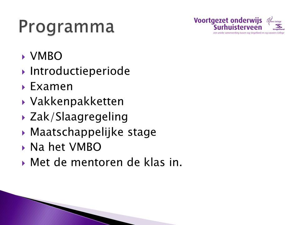  VMBO  Introductieperiode  Examen  Vakkenpakketten  Zak/Slaagregeling  Maatschappelijke stage  Na het VMBO  Met de mentoren de klas in.