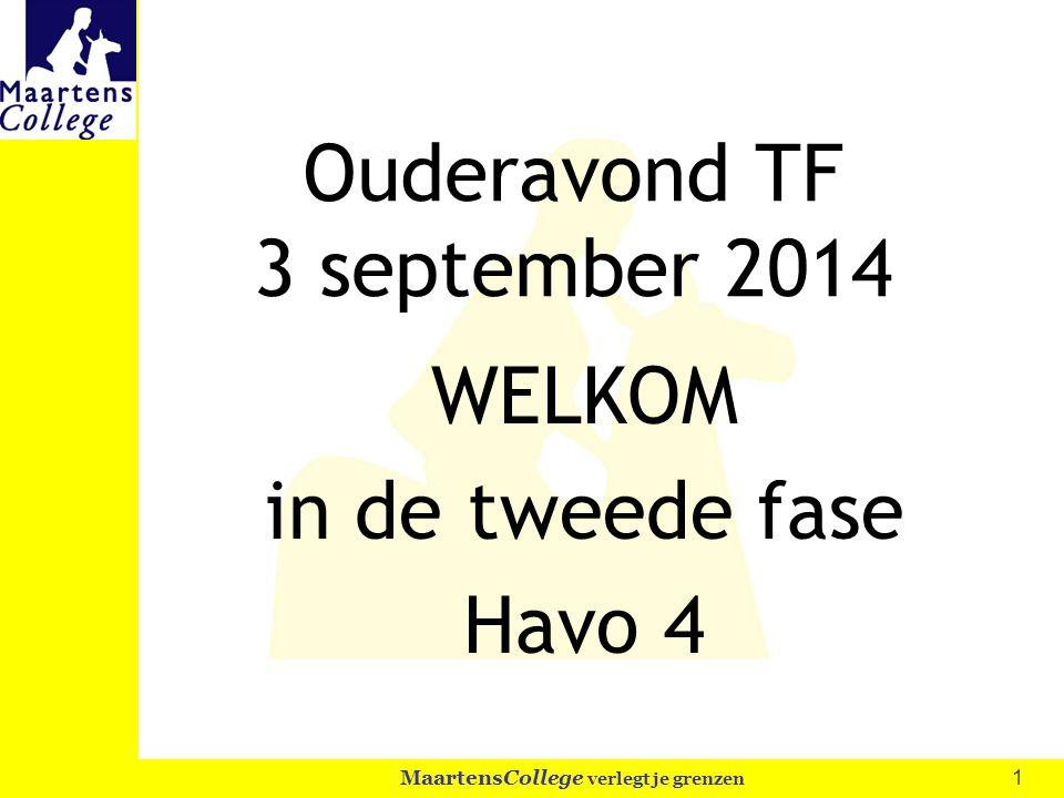 1 MaartensCollege verlegt je grenzen Ouderavond TF 3 september 2014 WELKOM in de tweede fase Havo 4