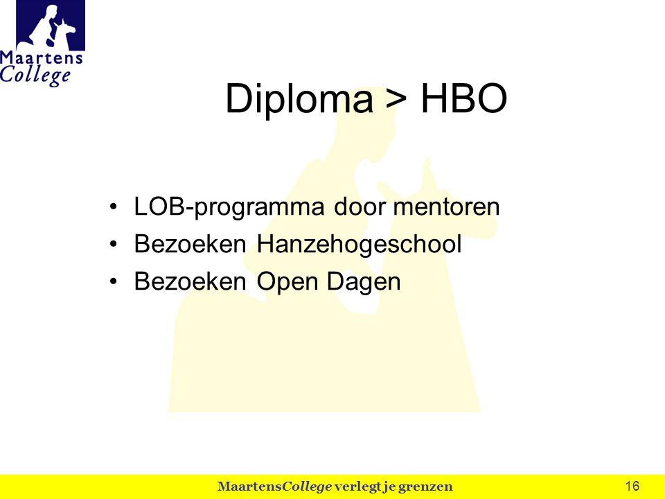 16 Diploma > HBO LOB-programma door mentoren Bezoeken Hanzehogeschool Bezoeken Open Dagen MaartensCollege verlegt je grenzen