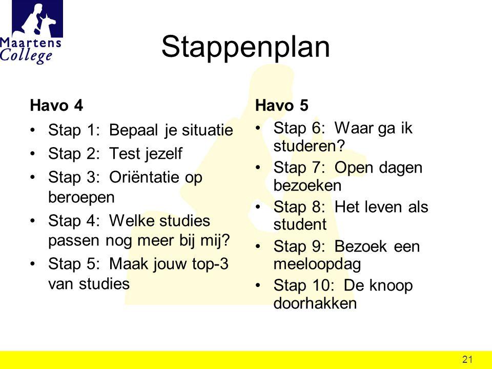 21 Stappenplan Stap 1: Bepaal je situatie Stap 2: Test jezelf Stap 3: Oriëntatie op beroepen Stap 4: Welke studies passen nog meer bij mij? Stap 5: Ma