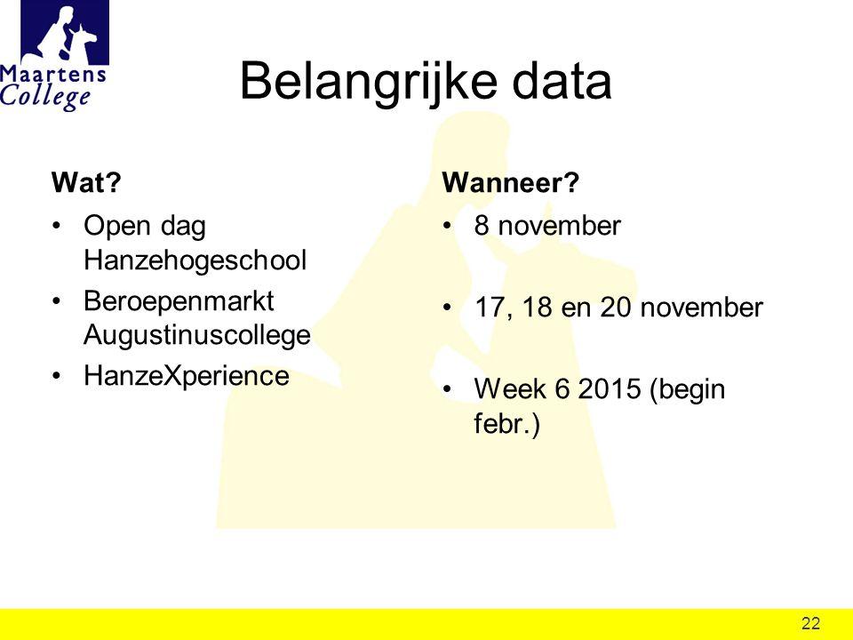 22 Belangrijke data Open dag Hanzehogeschool Beroepenmarkt Augustinuscollege HanzeXperience 8 november 17, 18 en 20 november Week 6 2015 (begin febr.)
