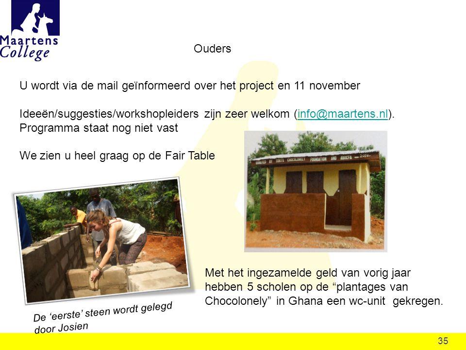 35 Ouders U wordt via de mail geïnformeerd over het project en 11 november Ideeën/suggesties/workshopleiders zijn zeer welkom (info@maartens.nl). Prog