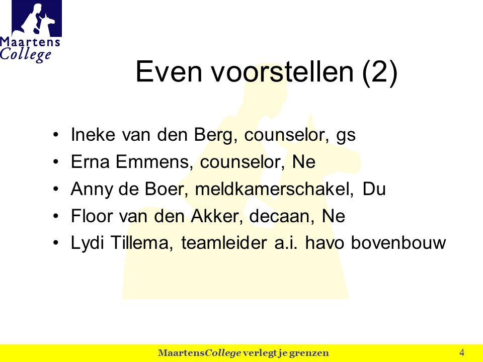 4 Even voorstellen (2) Ineke van den Berg, counselor, gs Erna Emmens, counselor, Ne Anny de Boer, meldkamerschakel, Du Floor van den Akker, decaan, Ne