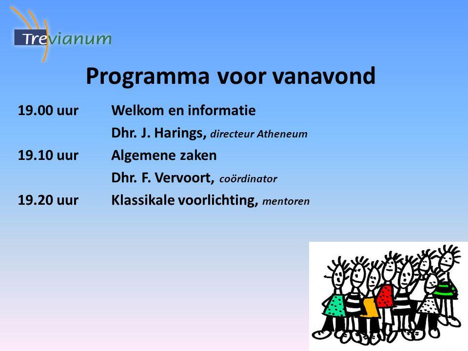 19.00 uurWelkom en informatie Dhr. J. Harings, directeur Atheneum 19.10 uurAlgemene zaken Dhr.